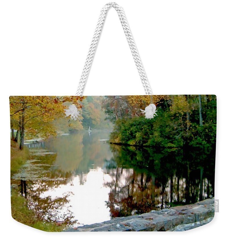 Lake Weekender Tote Bag featuring the photograph The Dam At Peaks Of Otter by Karin Everhart