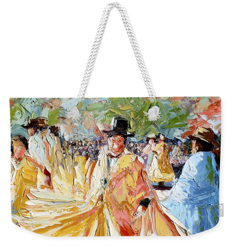 La Paz Weekender Tote Bag featuring the painting The Dance At La Paz by Lewis Bowman