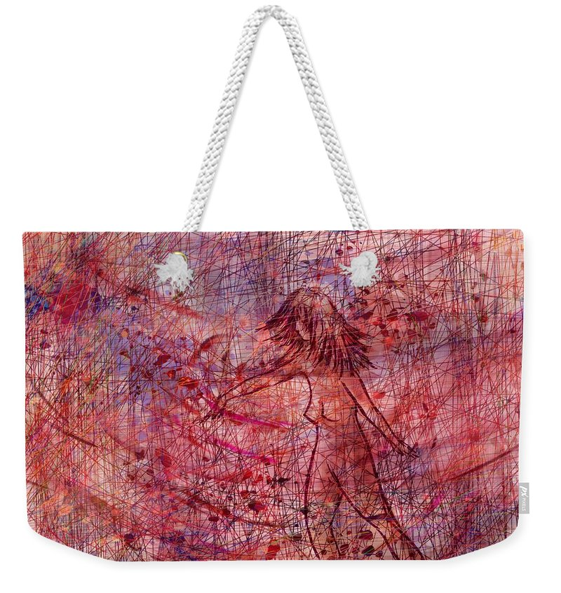 Abstract Weekender Tote Bag featuring the digital art The Dancer by Rachel Christine Nowicki