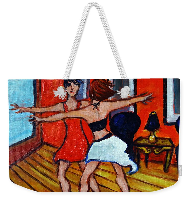 Dancers Weekender Tote Bag featuring the painting The Dancers by Valerie Vescovi