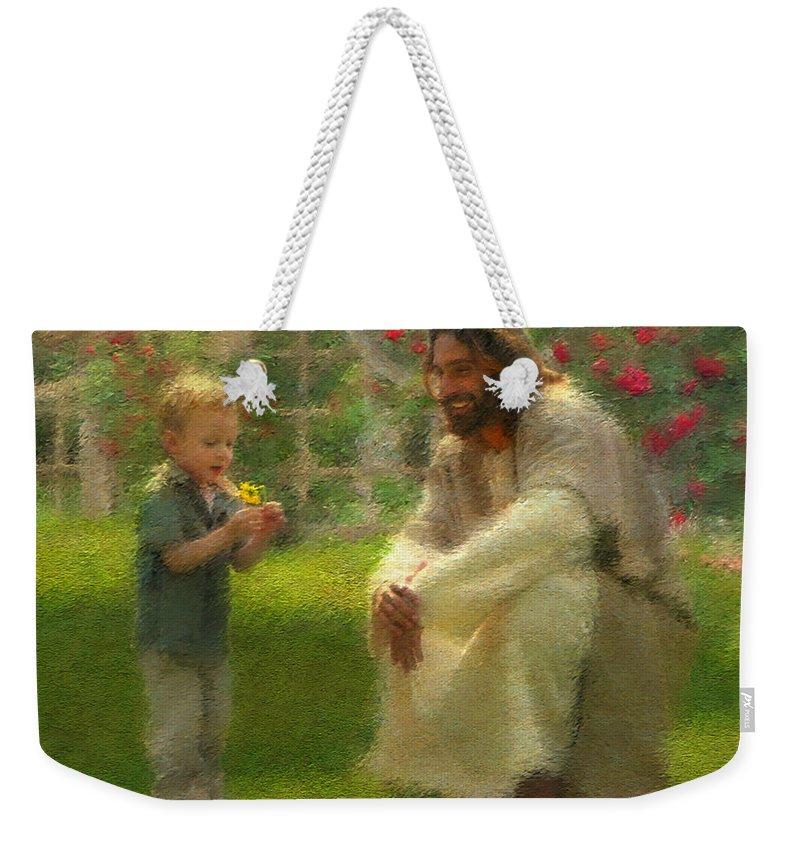 Jesus Weekender Tote Bag featuring the painting The Dandelion by Greg Olsen