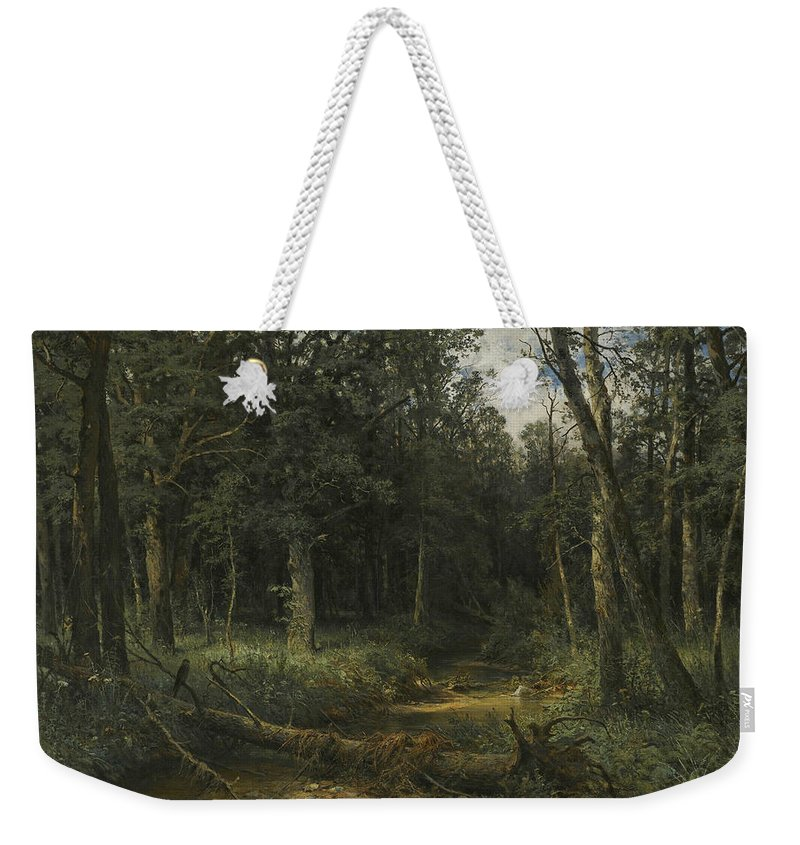 Ivan Shishkin Weekender Tote Bag featuring the painting The Dark Wood by Ivan Shishkin