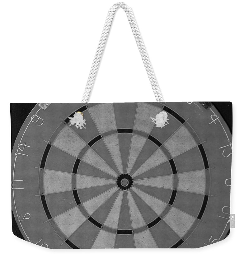 Macro Weekender Tote Bag featuring the photograph The Dart Board In Black And White by Rob Hans