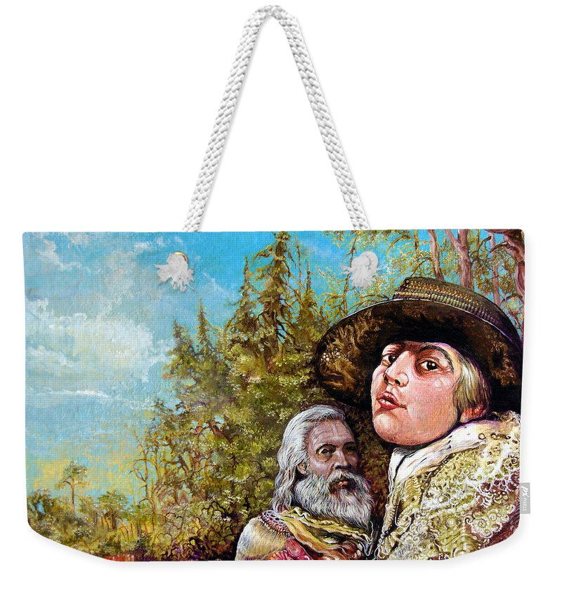 Surrealism Weekender Tote Bag featuring the painting The Dauphin And Captain Nemo Discovering Bogomils Island by Otto Rapp