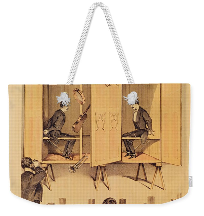 Magic Weekender Tote Bag featuring the painting The Davenport Brothers by English School