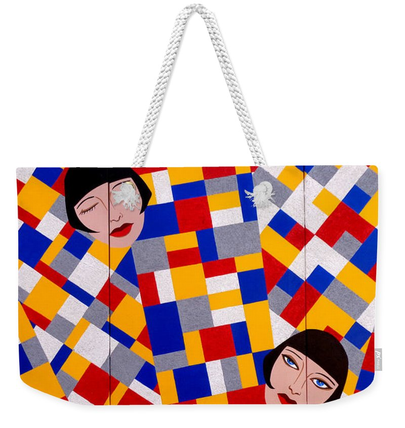 De Stijl Weekender Tote Bag featuring the painting The De Stijl Dolls by Tara Hutton