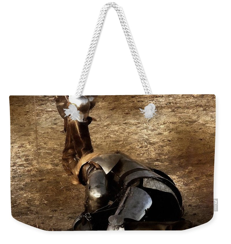 Arthurian Weekender Tote Bag featuring the painting The Death Of Colgrin by RC DeWinter