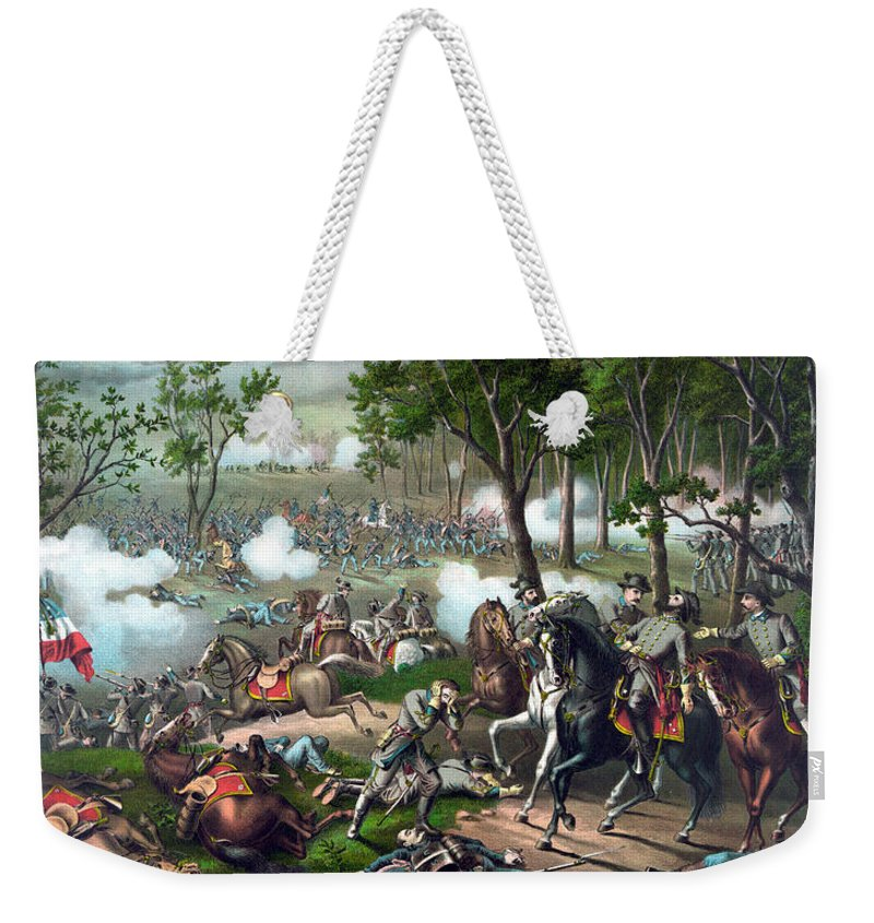 Civil War Weekender Tote Bag featuring the painting The Death Of Stonewall Jackson by War Is Hell Store
