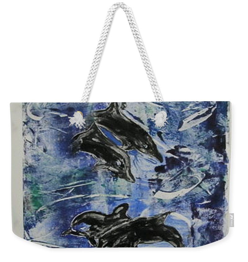 Monotype Weekender Tote Bag featuring the mixed media The Deep Sea by Cori Solomon