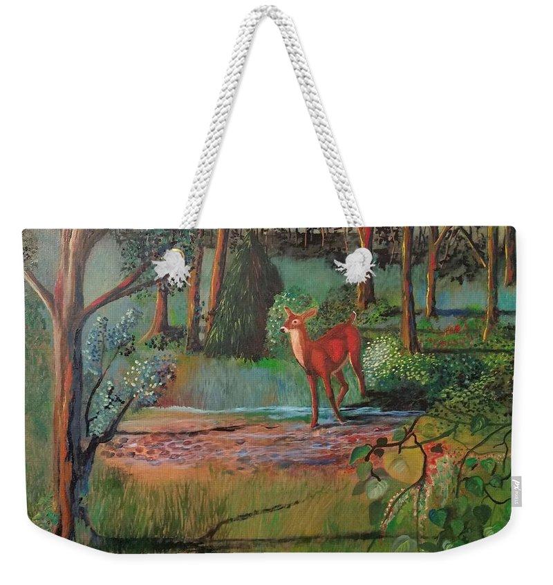 Deer Weekender Tote Bag featuring the painting The Deer by Cindy Harvell