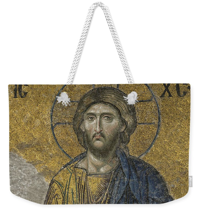 Turkey Weekender Tote Bag featuring the photograph The Dees Mosaic In Hagia Sophia by Ayhan Altun