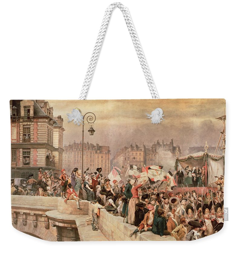 The Weekender Tote Bag featuring the painting The Departure Of The Volunteers 1792 by Jean Baptiste Edouard Detaille