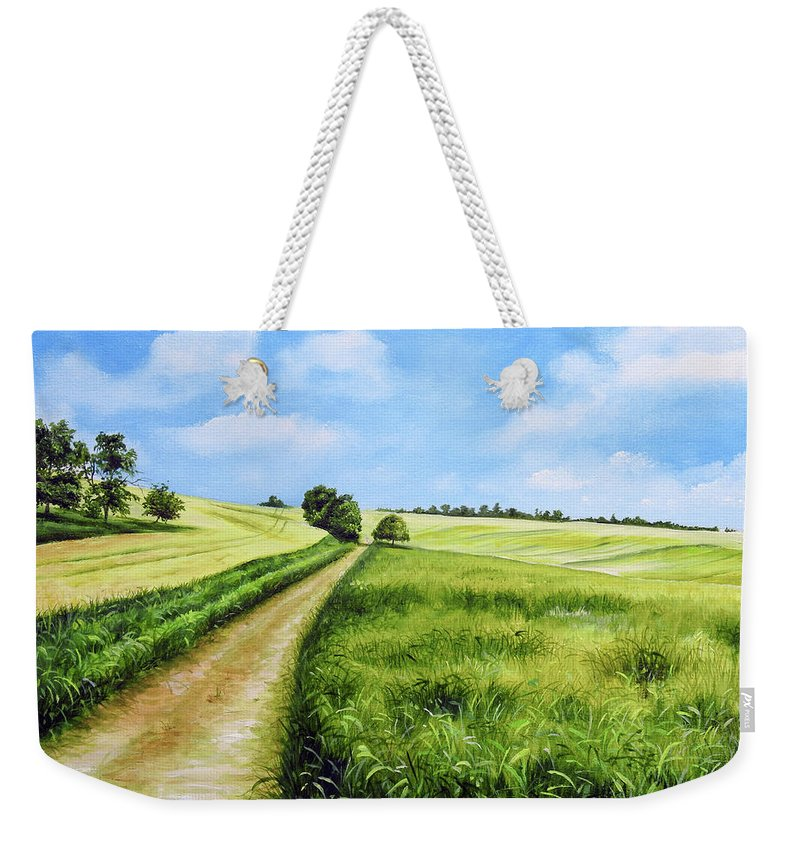 Derby Weekender Tote Bag featuring the painting The Derbyshire Dales by Sean Afford