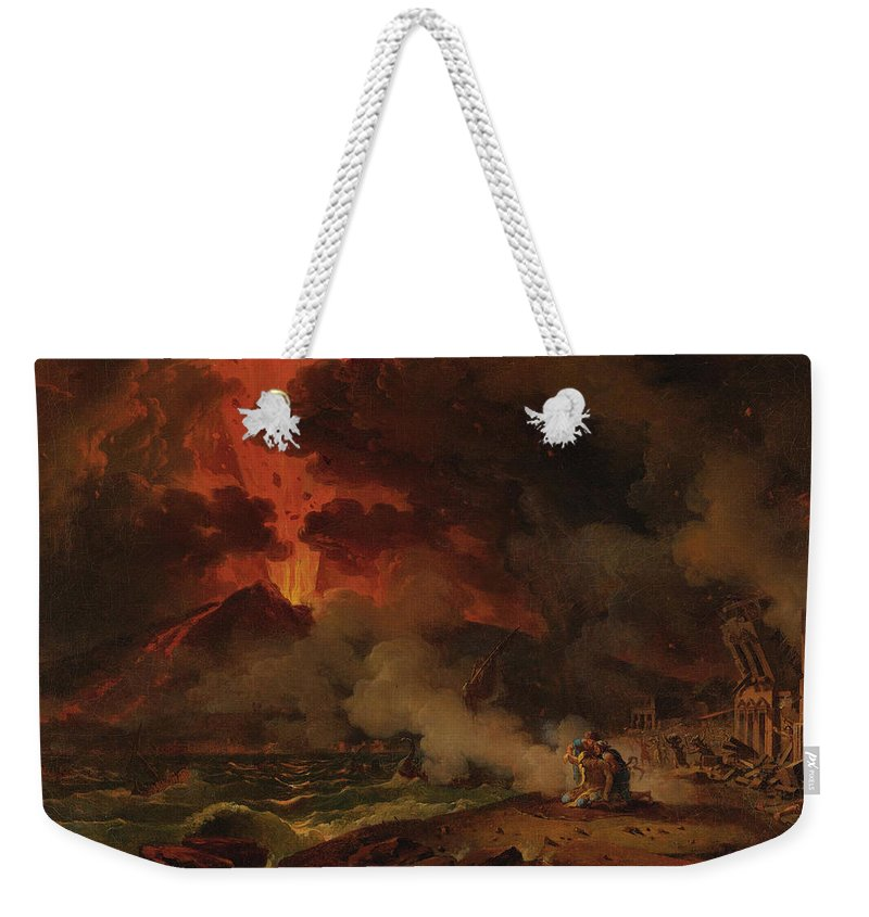 Pierre-henri De Valenciennes Weekender Tote Bag featuring the painting The Destruction Of Pompeii by Pierre-Henri de Valenciennes