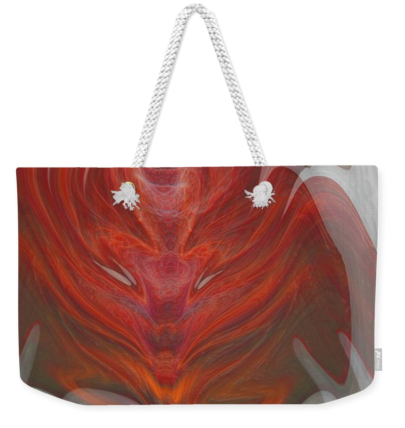 Abstract Weekender Tote Bag featuring the digital art The Devil Inside by Linda Sannuti