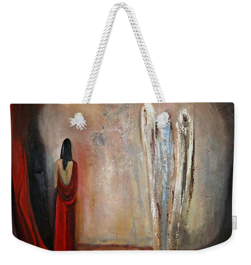 Angels Weekender Tote Bag featuring the painting The Devine Messenger by Niki Sands