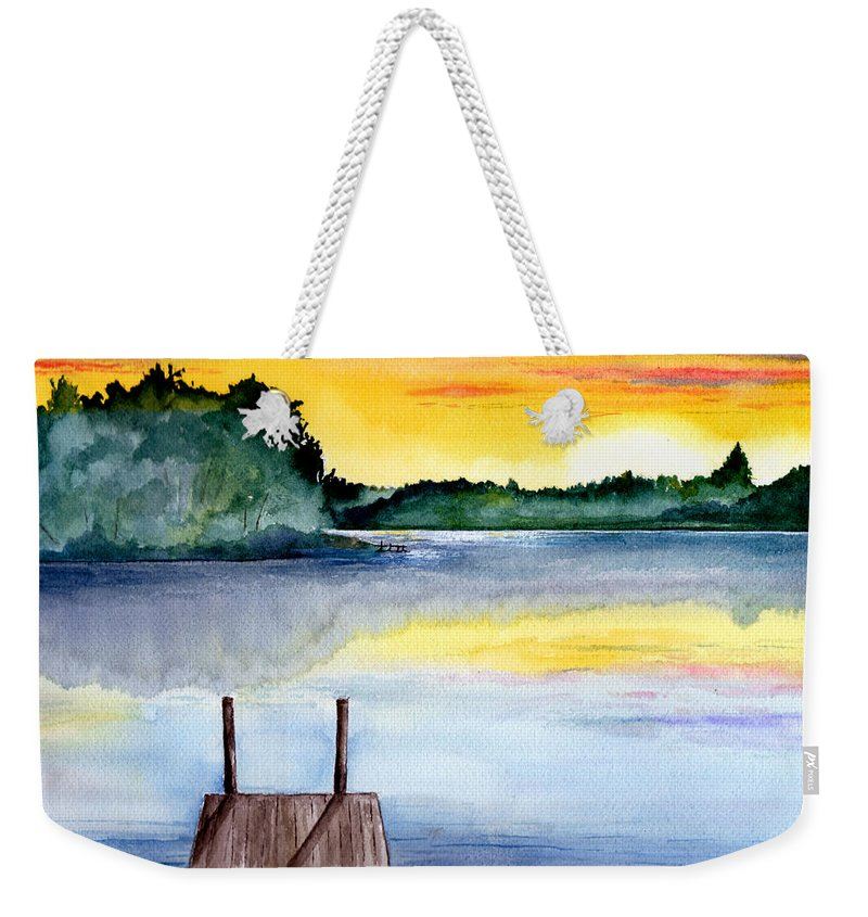 Watercolor Weekender Tote Bag featuring the painting The Dock by Brenda Owen