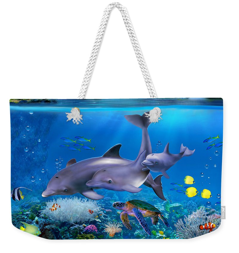 Dolphin Family Weekender Tote Bag featuring the digital art The Dolphin Family by Glenn Holbrook