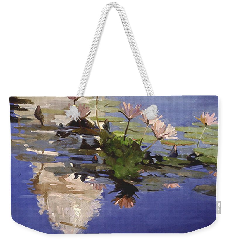 Water Lilies Weekender Tote Bag featuring the painting The Dome - Water Lilies by Betty Jean Billups