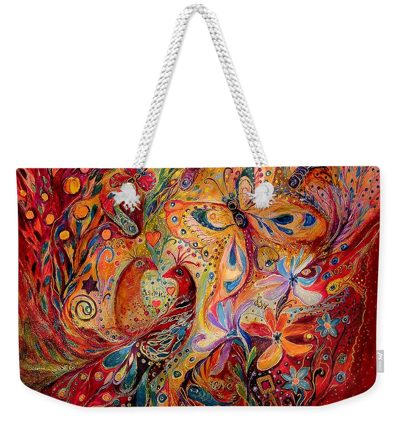 Original Weekender Tote Bag featuring the painting The Domination Of Red by Elena Kotliarker