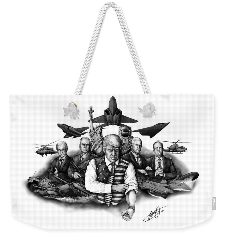 Jeff Sessions Weekender Tote Bag featuring the digital art The Donald - Make America Great Again by Vahram Barseghyan