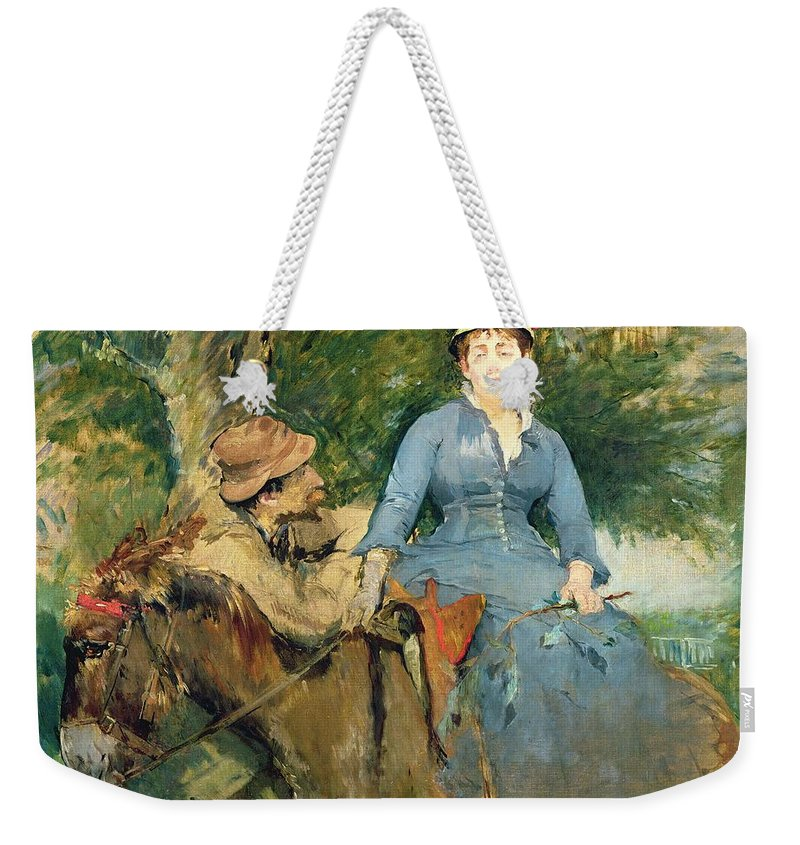 The Weekender Tote Bag featuring the painting The Donkey Ride by Eva Gonzales