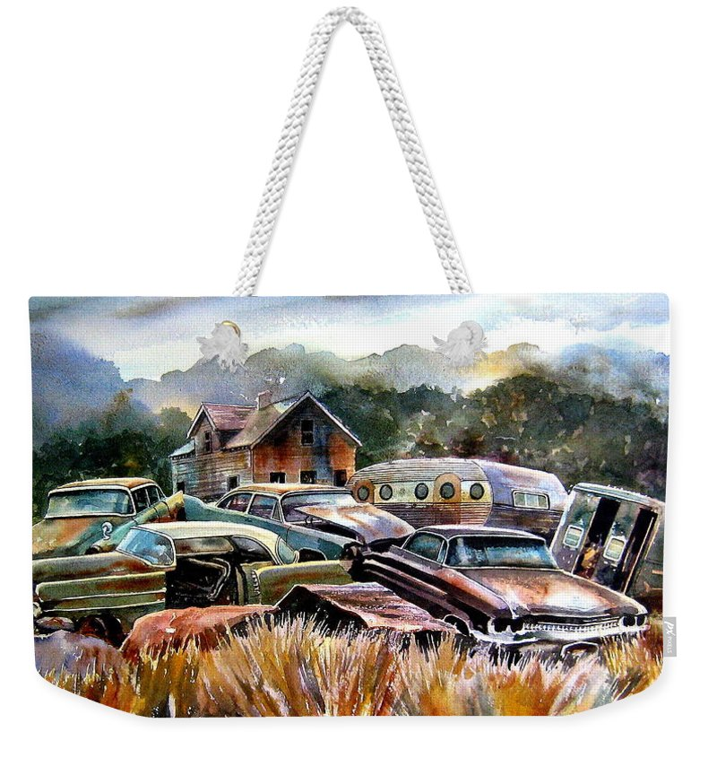 Old Wrecked Cars Weekender Tote Bag featuring the painting The Donor Cars by Ron Morrison