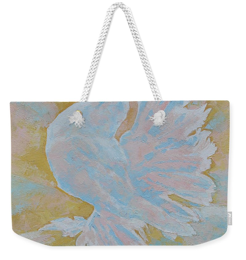 Dove Weekender Tote Bag featuring the painting The Dove by Iliyan Bozhanov