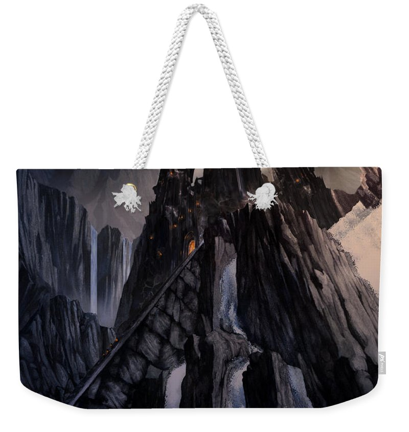 Architectural Weekender Tote Bag featuring the mixed media The Dragon Gate by Curtiss Shaffer
