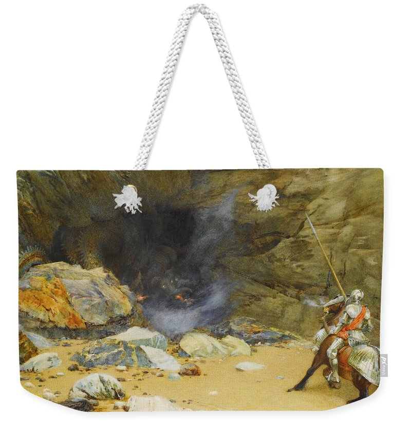 Edward Frederick Brewtnall Weekender Tote Bag featuring the drawing The Dragon's Cave by Edward Frederick Brewtnall