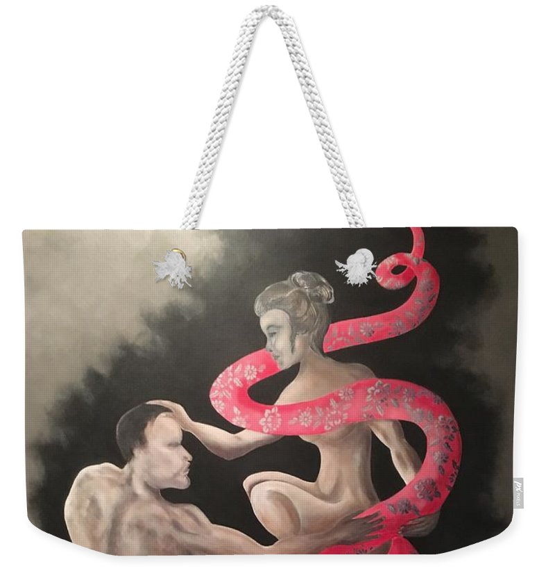 Snake Weekender Tote Bag featuring the painting The Dream by Ron Tango Jr