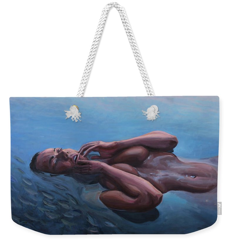 Lady Weekender Tote Bag featuring the painting The Dreaming Mermaid by Marco Busoni