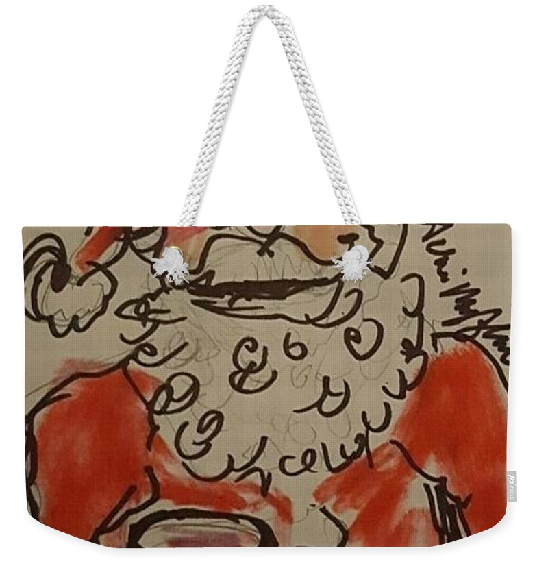 Santa Weekender Tote Bag featuring the drawing The Drunken Santa by Geraldine Myszenski