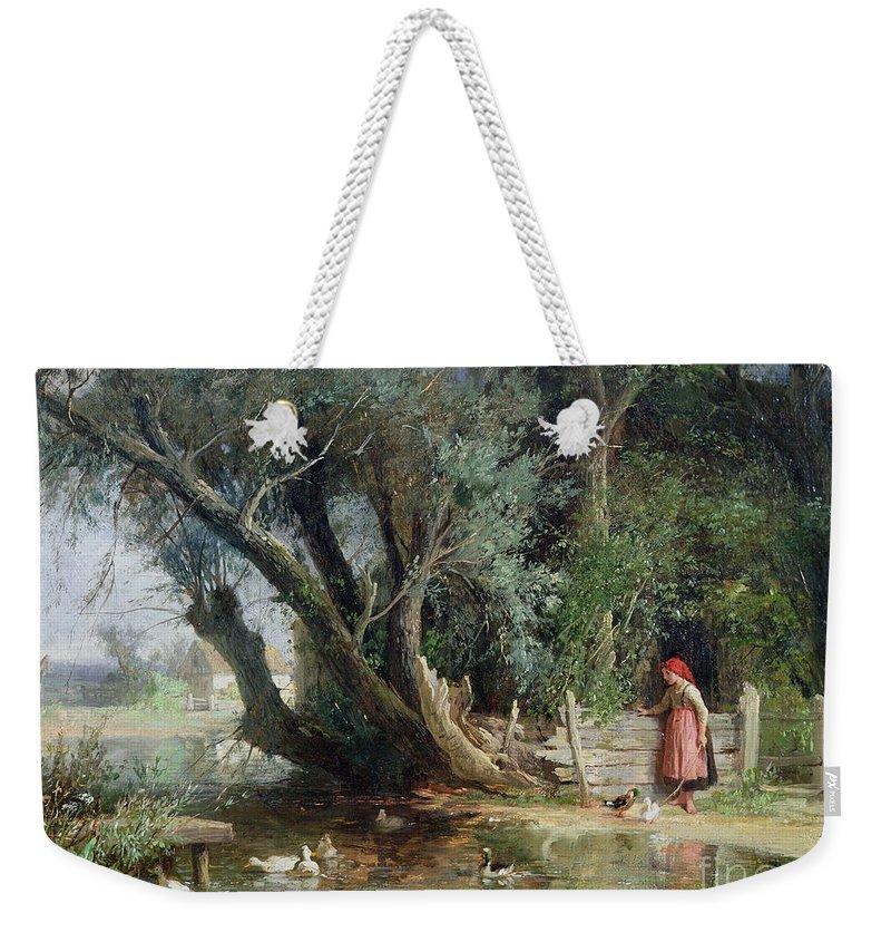 The Duck Pond By Eduard Heinel (1835-95) Weekender Tote Bag featuring the painting The Duck Pond by Eduard Heinel