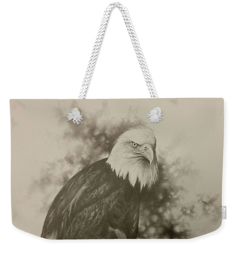 Eagle Weekender Tote Bag featuring the drawing The Eagle by James Rodgers