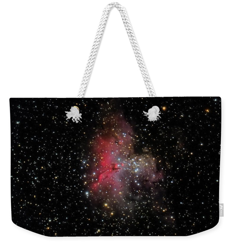 Astronomy Weekender Tote Bag featuring the photograph The Eagle Nebula And The Stellar Spire by Brent Newton