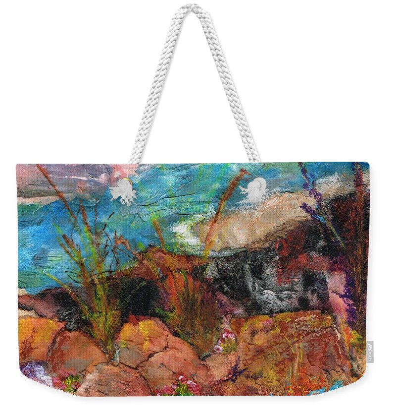 Desert Flowers Weekender Tote Bag featuring the painting The Edge Of The Cliff by Frances Marino