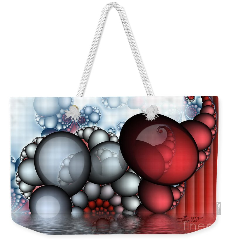 Fractal Weekender Tote Bag featuring the digital art The Egg Family by Jutta Maria Pusl