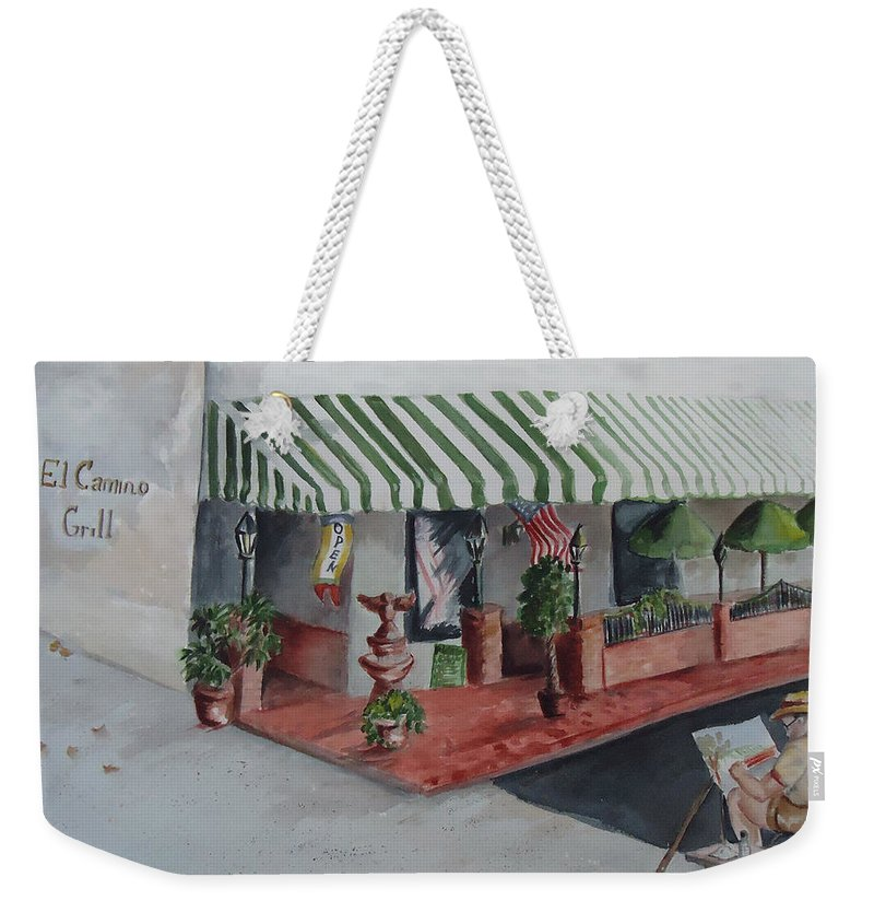 Grill Weekender Tote Bag featuring the painting The El Camino Grill by Charme Curtin