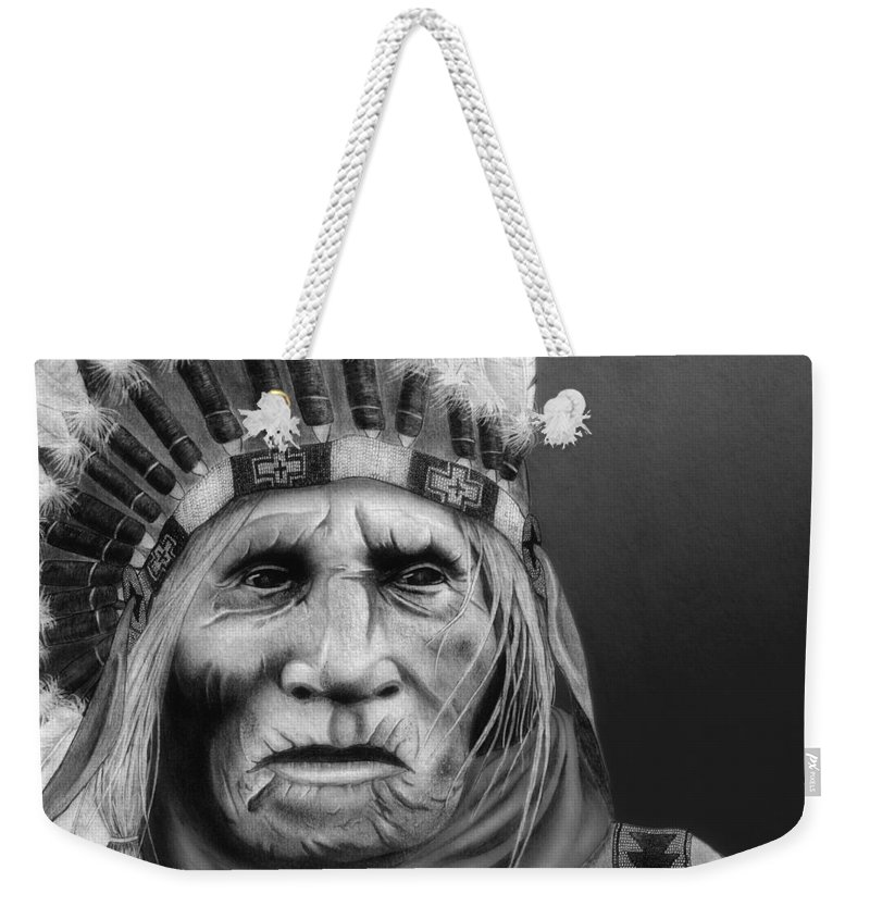 Native American Weekender Tote Bag featuring the painting The Elder by Pablo DeLuna