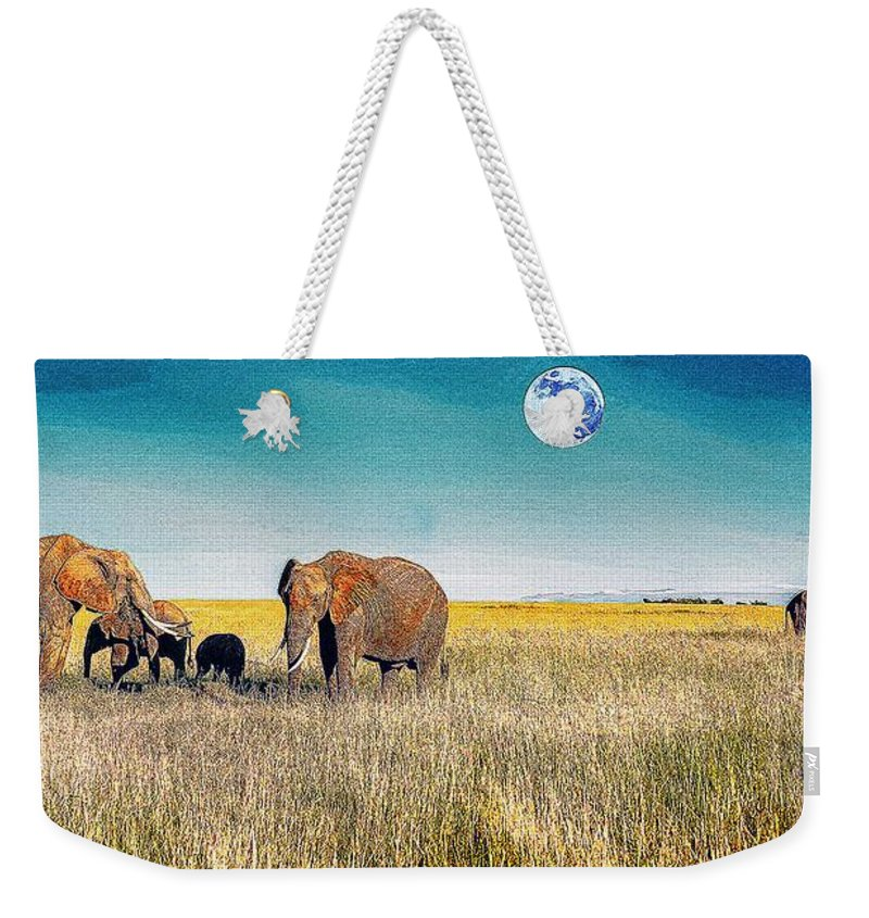 Nature Weekender Tote Bag featuring the painting The Elephant Herd by Celestial Images