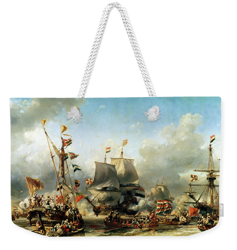 The Weekender Tote Bag featuring the painting The Embarkation Of Ruyter And William De Witt In 1667 by Louis Eugene Gabriel Isabey