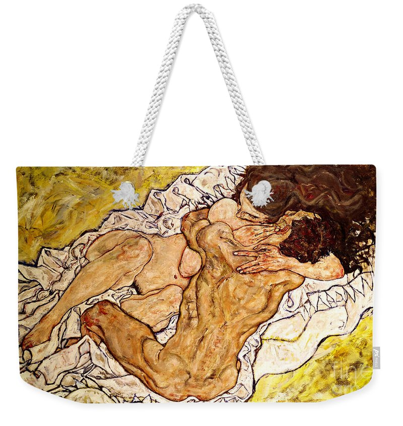 Egon Schiele Weekender Tote Bag featuring the painting The Embrace by Egon Schiele