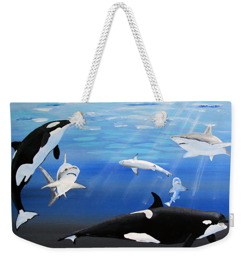 Killer Whales Weekender Tote Bag featuring the painting The Encounter by Luis F Rodriguez