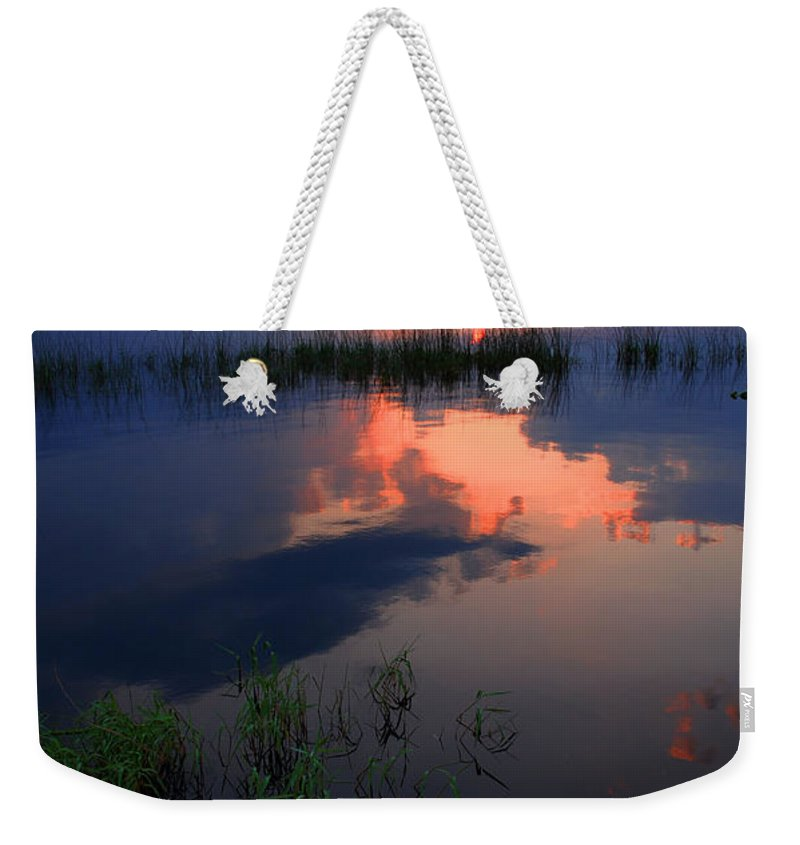Sunset Weekender Tote Bag featuring the photograph The End Of The Day by Susanne Van Hulst