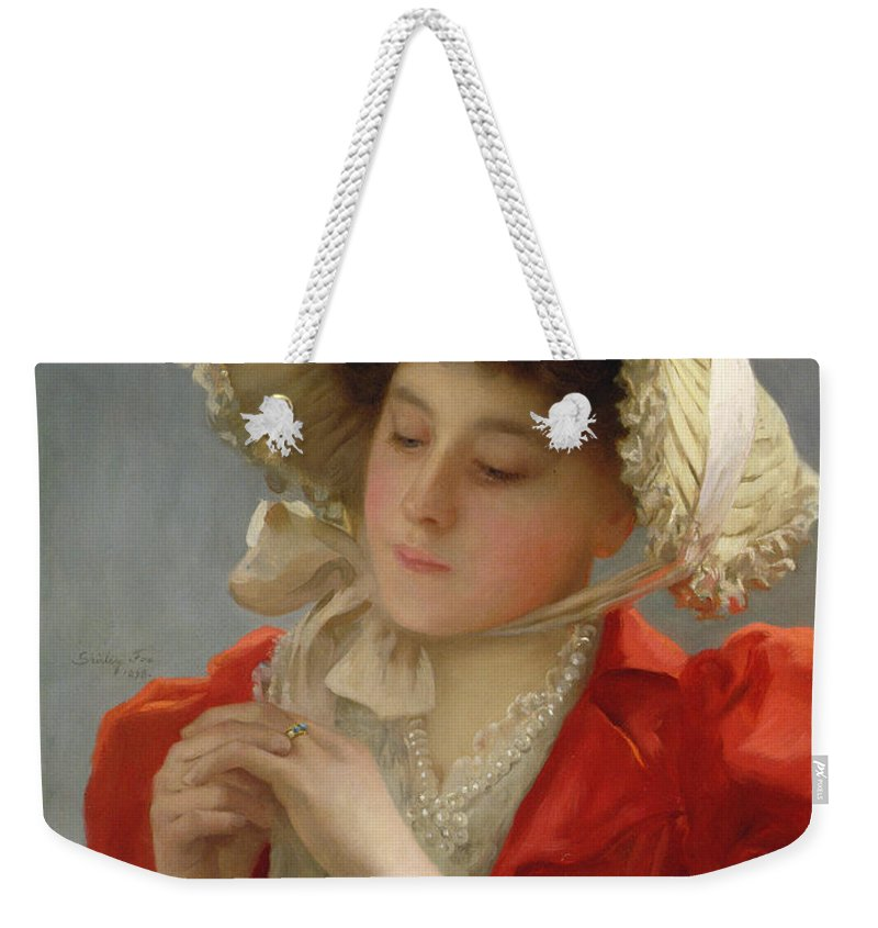 The Engagement Ring Weekender Tote Bag featuring the painting The Engagement Ring by John Shirley Fox