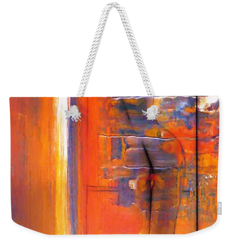 Dark Weekender Tote Bag featuring the painting The Escape by Steve K