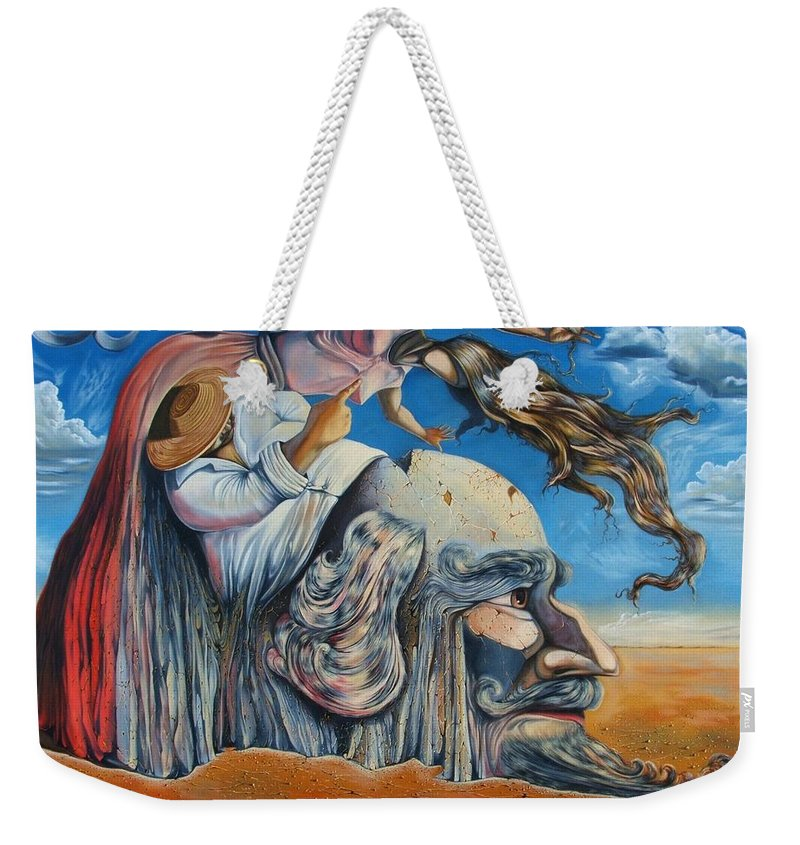 Surrealism Weekender Tote Bag featuring the painting The Eternal Obsession Of Don Quijote by Darwin Leon