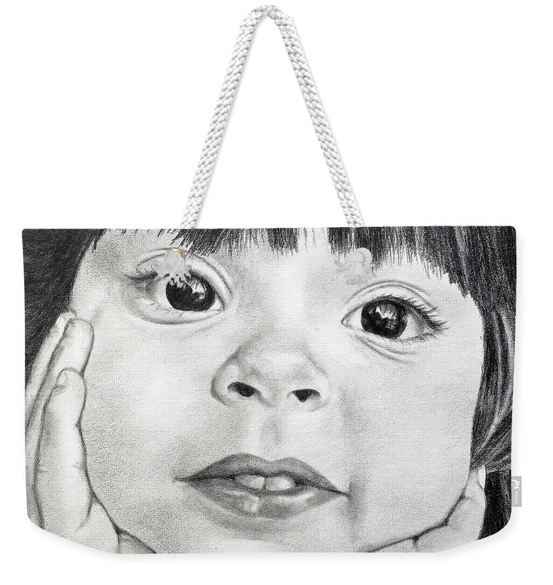 Nino Weekender Tote Bag featuring the drawing The Eyes - 21 by Faythe Mills
