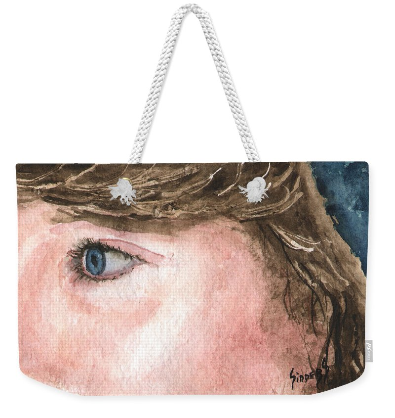 Franci Weekender Tote Bag featuring the painting The Eyes Have It - Franci by Sam Sidders